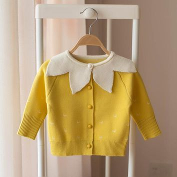 Korean Style 2019 Spring Toddlers Girls Knitted Sweaters Petal Collar Kids Clothes Cute Baby Children Cardigan Sweater Coats