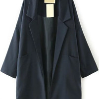 Navy Notched Collar Pockets Long Sleeve Trench Coat