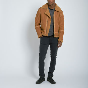 Nahariya Shearling Aviator Jacket in Sand