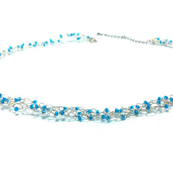 FREE SHIPPING Wire crochet necklace with glass beads: Blue ocean