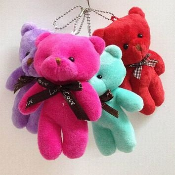 "Retail 4pcs 5.1"" Lovely Siamese Teddy Bear With Bow Plush Pendants Toys Key chain/Bouquet/Phone/Bag/Decorative Accessories gift"