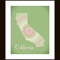 California art map print - mint green and pink, typography map poster, dorm decor California state, kaleidoscope shape, home decor wall art