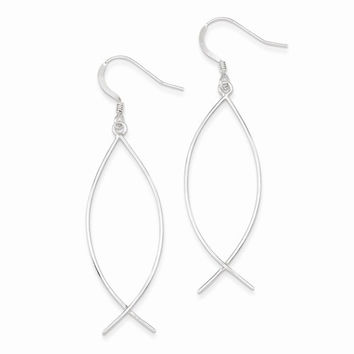 Sterling Silver Ichthus (Fish) Dangle Earrings
