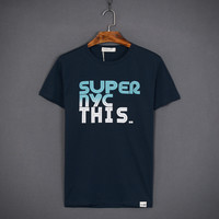 Short Sleeve Men Round-neck Cotton Men's Fashion Tops T-shirts [10510790403]