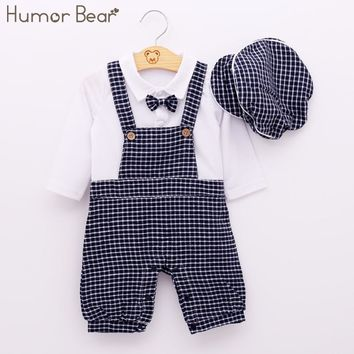 Humor Bear Newborn Baby Boy Clothing Set Autumn Style Gentleman Long Sleeve White Shirt Grid Suspenders Hat + Clothing Suits