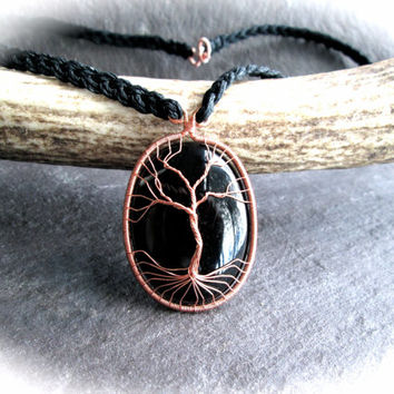 Black Onyx Tree of Life Necklace, Wire Wrap Copper Gemstone Pendant on Braided Black Hemp, Pagan Viking Wicca Yggdrasil Kabbalah, UK made