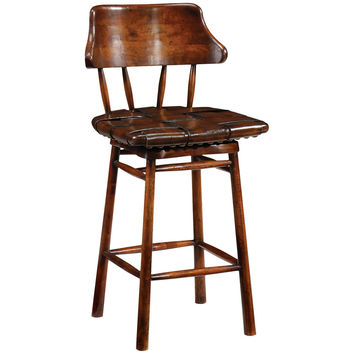 Country Style Walnut Leather Counter Stool