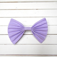 Solid Lavender Fabric Hair Bow for Girls/Teens/Adults with French Barrette or Alligator Clip