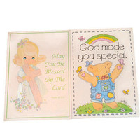 Vintage Precious Moments & Bear Keychain God Made You Special Keyring May You Be Blessed by The Lord Vintage Key Ring 80s Retro Photo Frame
