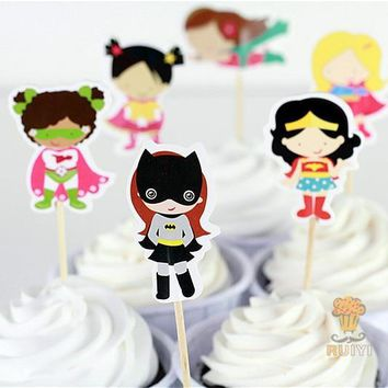 Batman Dark Knight gift Christmas 72pcs Girls superhero spiderman batman The Avengers candy bar cupcake toppers pick baby shower kids birthday party supplies AT_71_6