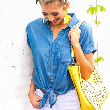 Siesta Key Chambray Top