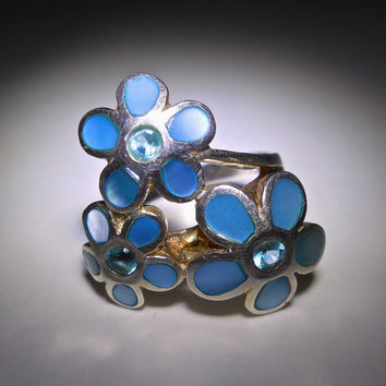 Sterling Silver Flower Bouquet Ring, Blue Shell & Blue Quartz, Cluster, Vintage Sz 7