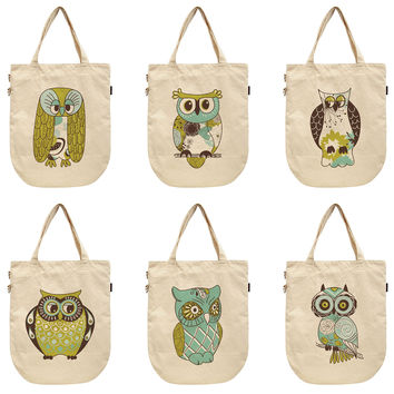 Women Vintage Owl Printed Canvas Tote Shoulder Bags WAS_39
