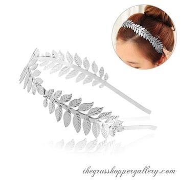 Roman Goddess Leaf Branch Dainty Bridal Hair Crown Head Dress Boho Alice Band