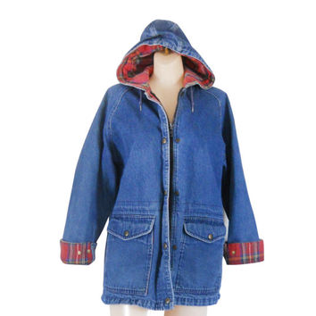 LL Bean Coat Barn Coat Denim Coat Flannel Coat Barn Jacket Blue Jean Jacket 90s Jean Jacket Denim Jacket 80s Jean Jacket Women Jean Jacket