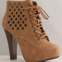 Qupid Puffin-62 Camel High Heel Boot Nubuck Lace up Platform Bootie - Perforated High Heel Camel Bootie,Puffin-62 Camel 8