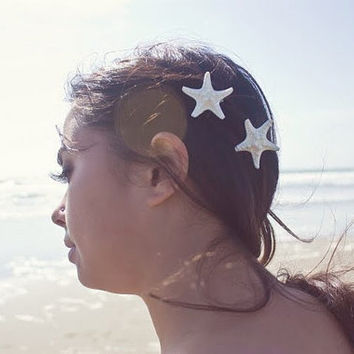 Starfish Hair Clips - White Starfish Barrettes Mermaid Starfish Hair Accessories Beach Boho Cute Adorable Elegant Romantic Whimsical Dreamy