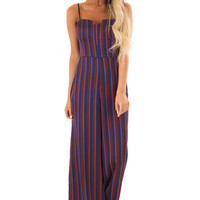Burgundy and Navy Satin Striped Wide Leg Jumpsuit