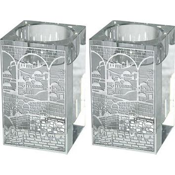 Square Crystal Candlesticks 8cm With Metal Plaque