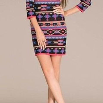 Envy Fashions for Flying Tomato Graphic Print Sweater Dress Sizes S M L
