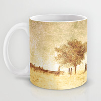 Art Coffee Cup Mug Alone photography home decor Java Lovers tan gold yellow tones photo one tree dark sage green texture rustic country