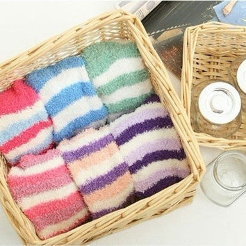 3 Pairs Winter Warmer Candy Color Stripe Children Room Socks Kids (Color: Multicolor) = 1958409476