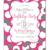 Pink Background with White and Grey Polka Dots Design with Chalkboard Design Printable Birthday Invitation