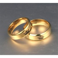 Statement Gold Ring: 'His Queen, Her King' Stainless Steel Costume Jewelry