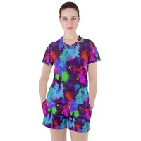 Paint Spots Texture Women's Mesh Tee And Shorts Set