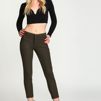Olive Wool Blend Zip Trousers