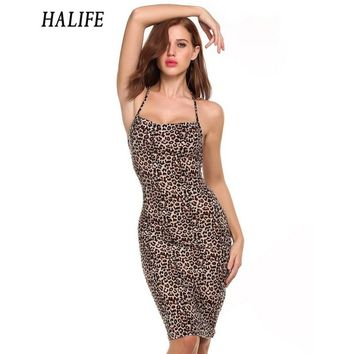 HALIFE Women Strap Off Shoulder Midi Leopard Dress Backless Bandage Party Sexy Clubwear Self Portrait Dress XXL Robe Vintage 15
