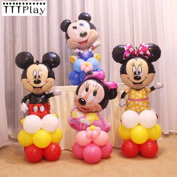 17pcs/lot Mickey Minnie Balloons Large Giant Red Bowknot Standing Mouse Airwalker Foil Balloons Kids Birthday Party Decorations