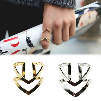 Women's Vintage Gold Silver Tone Double V-shaped Adjustable Ring