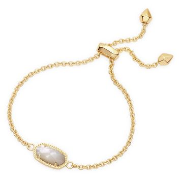 Kendra Scott Elaina Ivory Mother of Pearl Gold Adjustable Bolo Bracelet