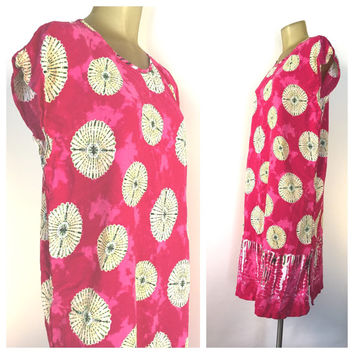 Pink Boho Dress, Batik Style Dolman Dress, Hot Pink Bohemian Beach Cover Up, Tie Dye Mandalas Print, Pink Tunic Dress, Indian Dress, L XL