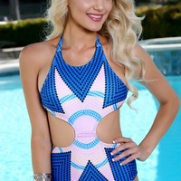 Pink Blue Sexy Tribal Print One Piece Swimsuit