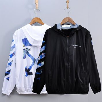 HCXX 19July 434 Off white tide brand new arrow men and women couple models travel sunscreen quick-drying skin clothing s-2xl