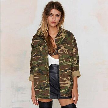 Fashion Military Women Jacket 2017 Spring Zipper Button Outwear Coats Female Vintage Camouflage Army Green Jackets Blouses H298