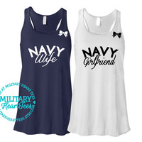 Custom Proud Navy Racerback Tank Top, Military Shirt for Wife, Fiance, Girlfriend, Mom, Sister, Workout