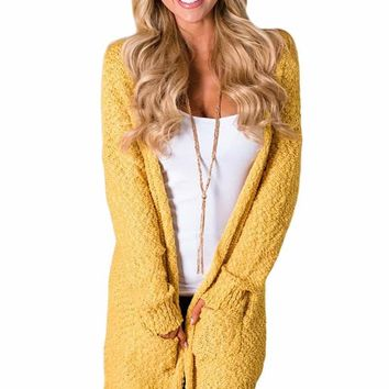 Mustard Pebble Beach Textured Cardigan