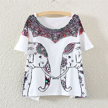 Womens White Short Sleeve Red Double Elephant Print T-Shirt Gift