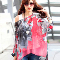 'The Penny' Red Floral Batwing Sleeve Asymmetric Chiffon Blouse