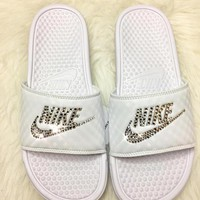 Bedazzled Crystal Nike Slides In White