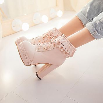 Women Ankle Boots Platform Lace Up High Heels Shoes Woman