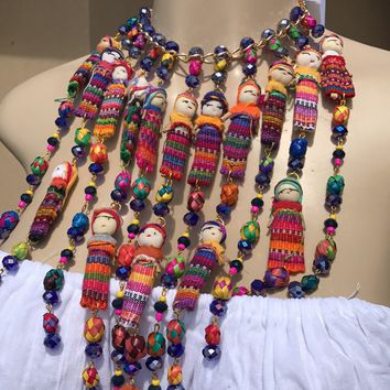 New Mexican Worry Dolls Statement Necklace & Earrings Set