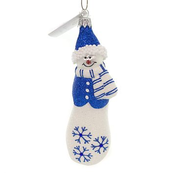 Golden Bell Collection SNOWMAN IN VEST AND SCARF Glittered Christmas Ornament Sna007 Blue