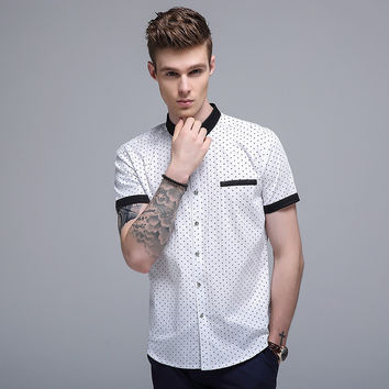 Summer Korean Casual Print Slim Short Sleeve Men Cotton Shirt Blouse [6541345859]