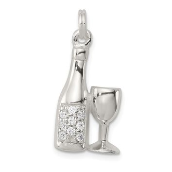 925 Sterling Silver Cubic Zirconia Wine, Champagne Bottle, Glass Shaped Charm Pendant