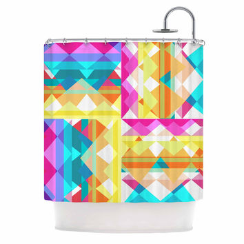 "Miranda Mol ""Triangle Checker"" Pastel Rainbow Shower Curtain"