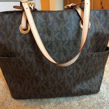 Michael Kors Brown MK PVC Large Tote Shopper Bag I